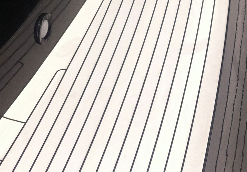 Superyacht flooring, handcrafted in a classic teak finish