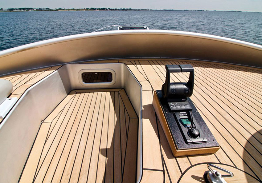 Superyacht tender console, handcrafted in a classic teak finish