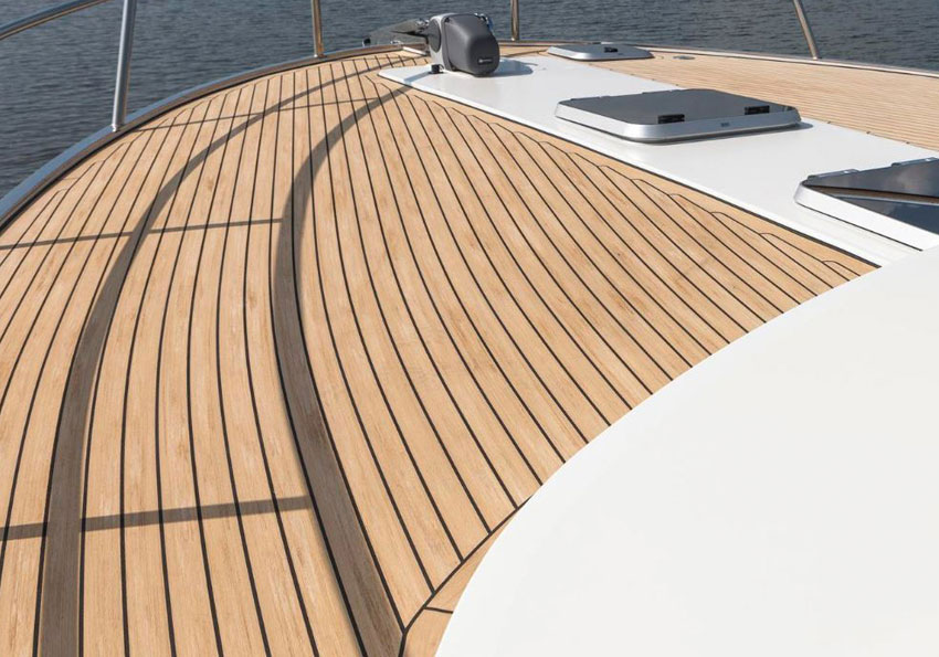 Superyacht flooring, handcrafted in a weathered finish