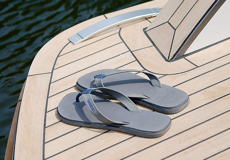 Superyacht synthetic teak, handcrafted in a weathered teak finish