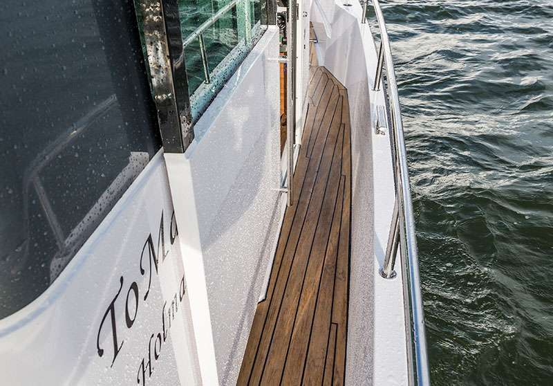 Superyacht marine decking, handcrafted in a classic teak finish
