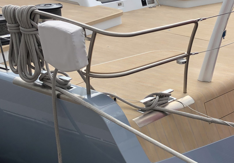 Superyacht marine flooring, handcrafted in a weathered teak finish