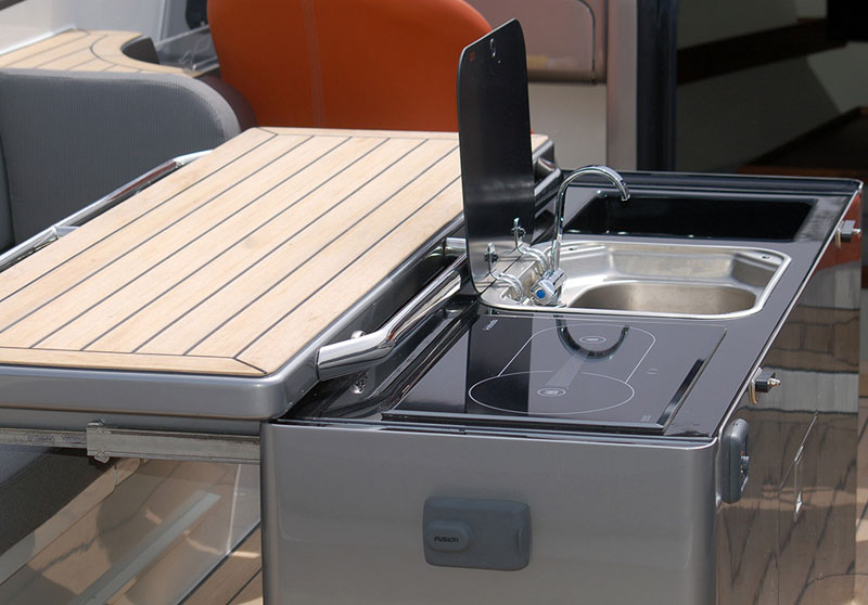 Superyacht tender flooring, custom install in a weathered teak finish